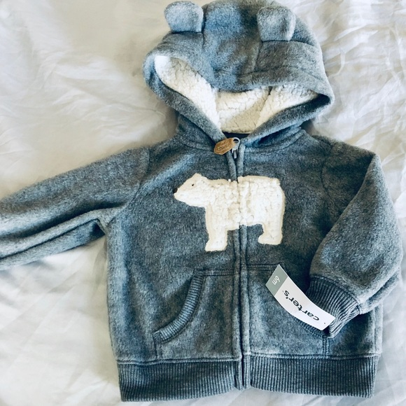 Carter's Other - NWT Carter's 6 mo bear zip up grey sweatshirt